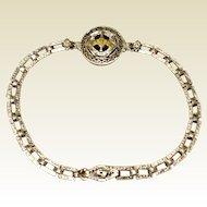 Vintage Sterling Silver Enameled Flexible Link Bracelet