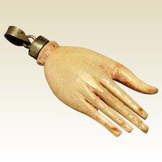 Vintage Large Bovine Bone Hand Pendant