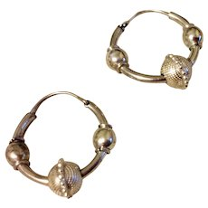 Vintage Sterling Silver Decorative Hoop Earrings
