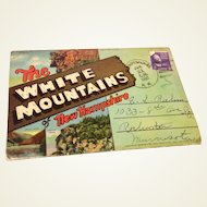 Vintage 1950 Souvenir Postcard Foldout White Mountains Of New Hampshire