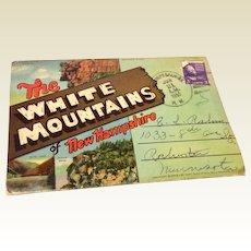 Vintage 1950 Souvenir Postcard Foldout White Mountains Of New Hampshire