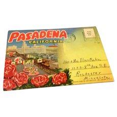 Vintage Souvenir Postcard Foldout Pasadena California