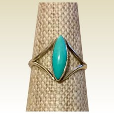 Vintage Sterling Silver Turquoise Child's Or Pinky Ring Size 3