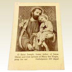 Vintage Catholic Saint Joseph Pray Card