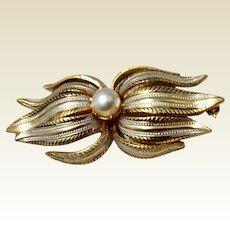 Vintage Silver & Gold Tone Metal Brooch With Faux Pearl