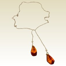 Art Deco Sterling Briolette Lingerie Necklace Topaz & Cultured Pearl