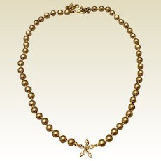 Monet Faux Pearl Rhinestone Necklace