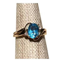 14K Blue Topaz & Diamond Ring Size 6 1/4