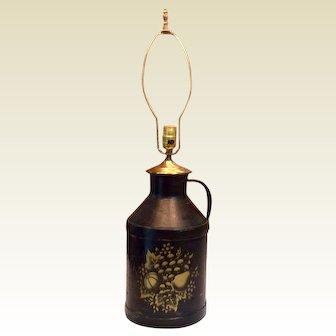 Vintage Black Tole Painted Jug Lamp