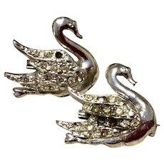 Silver Tone Rhinestone Swan Pins