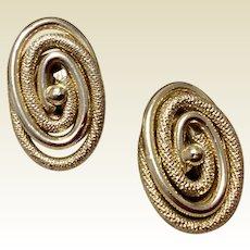 W. German Silver Tone Metal Clip Earrings