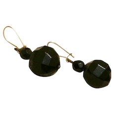 Black Onyx Glass Faceted Dangle Earrings