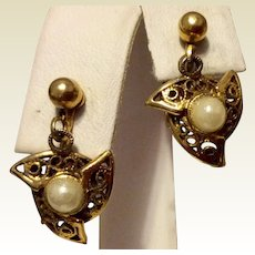 Gold Tone Metal Faux Pearl Clip Dangle Earrings