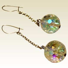 Gold Tone Metal Aurora Borealis Faceted Dangle Earrings