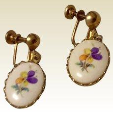 Vintage Gold Tone Metal Screw Back Dangle Pansy Earrings
