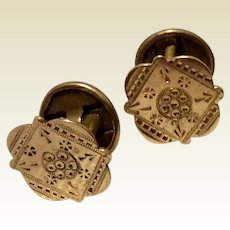 Victorian Hand Etched Gold Filled Cufflinks