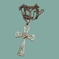Sterling Silver Filigree Cross & Chain