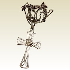 Sterling Silver Filigree Cross & Chain