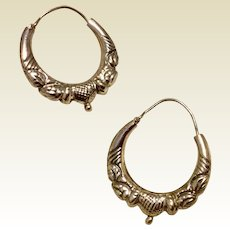 Sterling Silver Decorative Hoop Earrings