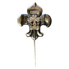Fleur d Lis Shamrock Stick Pin Silver Tone Metal