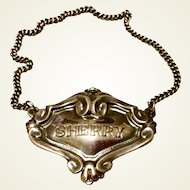 Vintage Silverplate Sherry Decanter Label