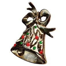Holly Bell Christmas Brooch