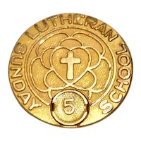 Lutheran Sunday School Pin Gold Filled