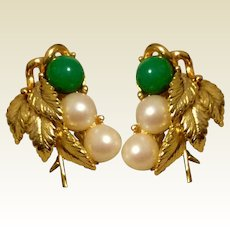 Faux Jade. & Pearl Wingback Earrings