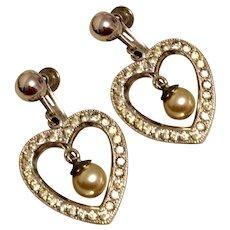 Rhinestone Faux Pearl Dangle Earrings