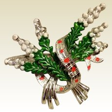 Christmas Mistletoe Brooch