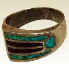 Black Onyx Turquoise Ring Size 11