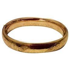 Vintage Gold Filled 1967 Carl Art Hinged Bangle Bracelet