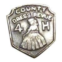 Country Dress Revue Pin 4 H Silver Tone Metal