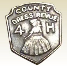 Country Dress Revue Pin 4 H Silver Tone Metal