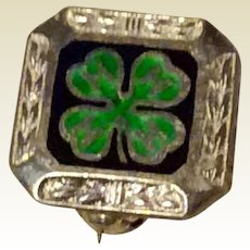 Sterling Enameled 4 H Clover Pin