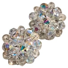 Cluster AB Crystal Clip Earrings