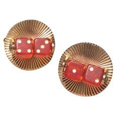 Red Dice Cufflinks Gold Tone Metal