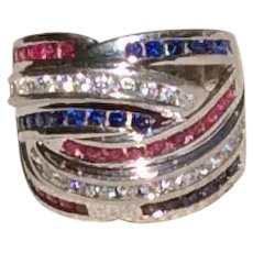 Sterling Flag Ring Size 8 Red Clear & Blue CZ's