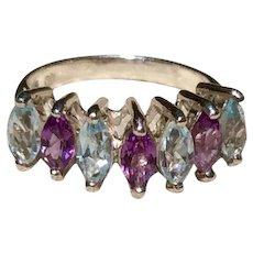 Amethyst  Blue Topaz Sterling Ring Size 6