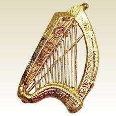 Musical Instrument Harp Brooch