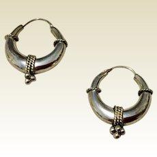 Vintage Sterling Silver Decorative Hoop Earrings