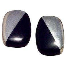 Mexican Black Onyx Sterling Earrings