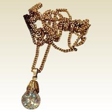 Vintage 14K Gold Filled Captive Floating Aurora Borealis Pendant Necklace