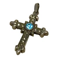 Aqua Rhinestone Silver Tone Metal Cross