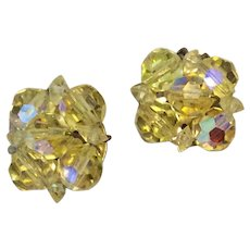 Yellow Aurora Borealis Faceted Clip Earrings