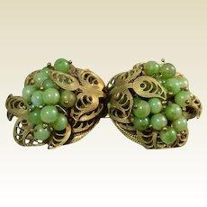 Vintage Gold Tone Metal Filigree Green Bead Belt Buckle