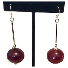 Lucite Red Dangle Earrings Gold Tone Metal