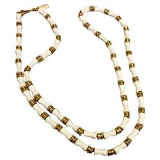 Monet White Lucite Necklace Gold Spacers