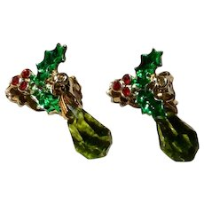 Enamel Rhinestone Briolette Dangle Earrings Holly Berry