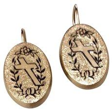 Black Enameled Cross Cufflink Earrings Gold Filled